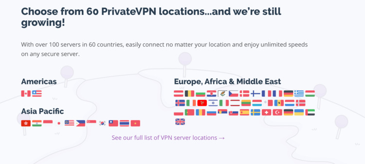 PrivateVPN servers