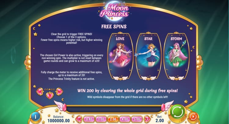De free spins-ronde van Moon Princess