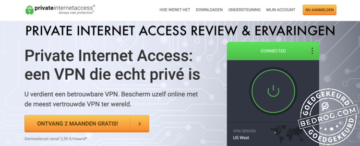 Private Internet Access aanmeldpagina